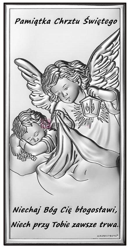 Obrazek srebrny - Aniołek z latarenką 7x14