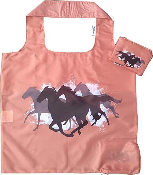 Chilino Składana torba na zakupy, duża i stabilna, przyjazna dla środowiska, poliester, konie, kasztanowobrązowy, 47 x 41 cm
