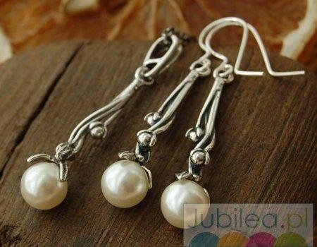 Roca - srebrny komplet z perłami