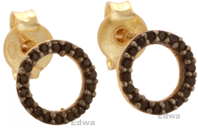 Kolczyki kółka z czarnymi cyrkoniami złote pr.585