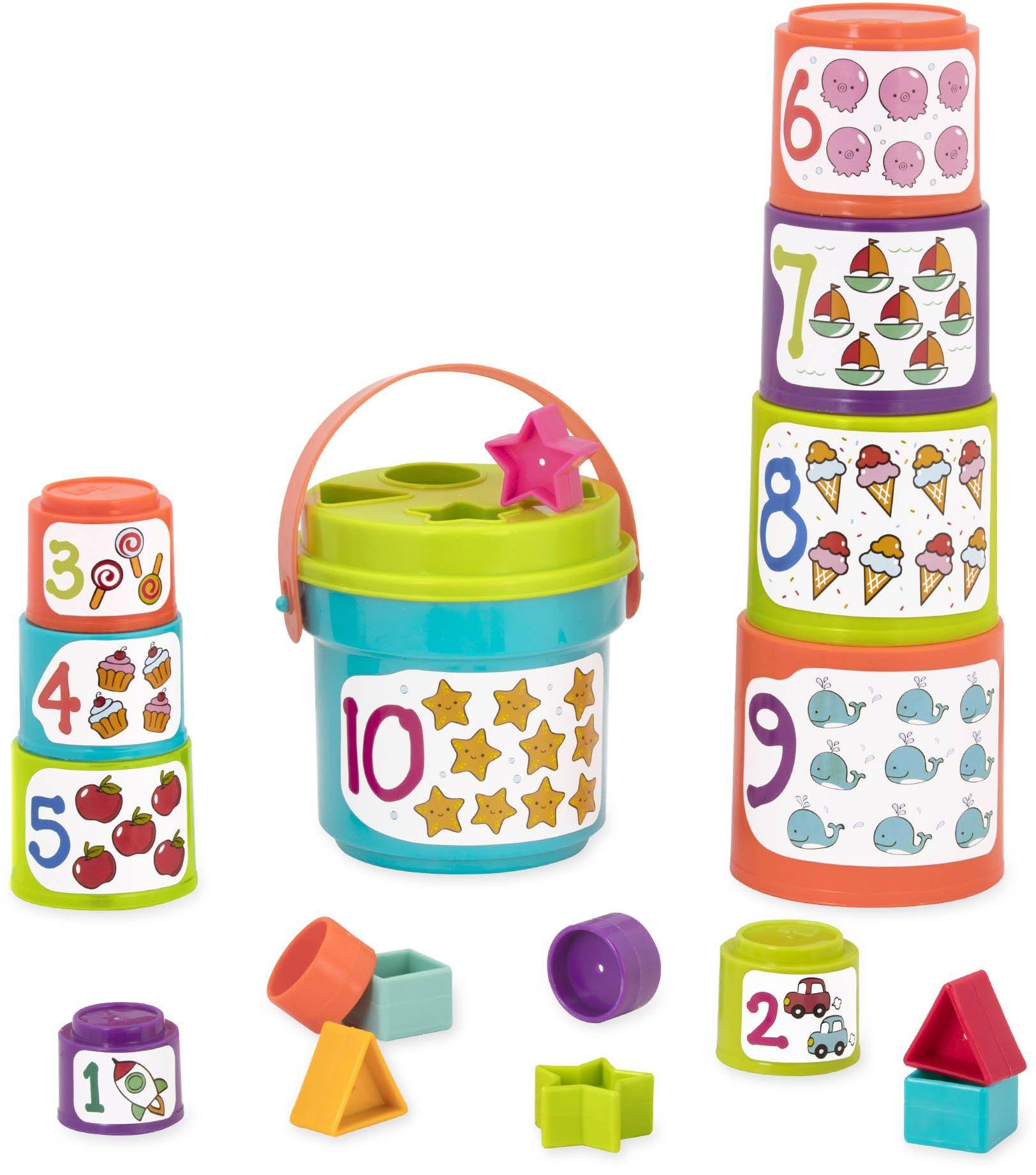 Battat  Kubki do sortowania cyfr i kształtów  do sortowania kształtów i układania w stos dla dzieci i niemowląt od 18 miesięcy (19 części)