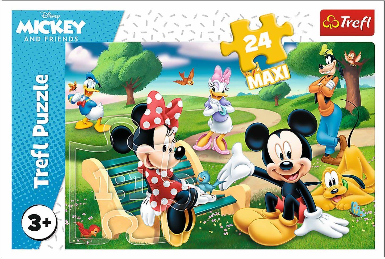 Trefl Myszka Miki w Gronie Przyjaciół Puzzle 24 Maxi Disney o Wysokiej Jakości Nadruku dla Dzieci od 3 lat