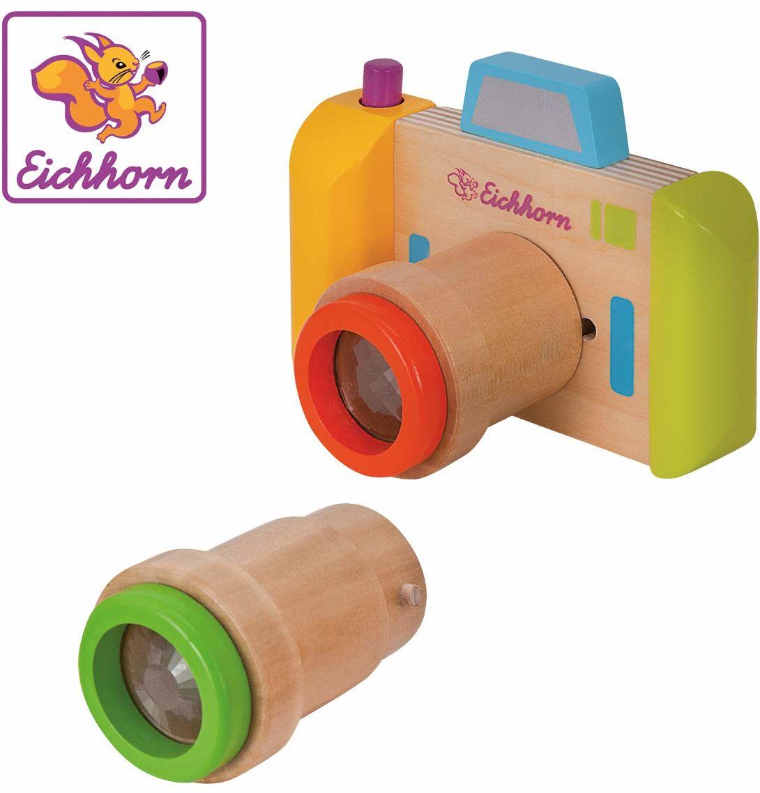 Eichhorn 100003460 kalejdoskop, 3-częściowy, aparat i 2 obiektywy, materiał, odpowiedni dla dzieci od roku życia, funkcja obrotowa, drewno brzozowe, BSK, 1J+, kolorowy, 12,5 x 9 x 7,5 cm