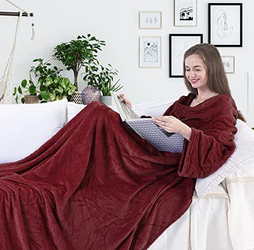 DecoKing koc z rękawami i kieszeniami 170 x 200 cm mikrofibra miękki ciepły bordowy Lazy