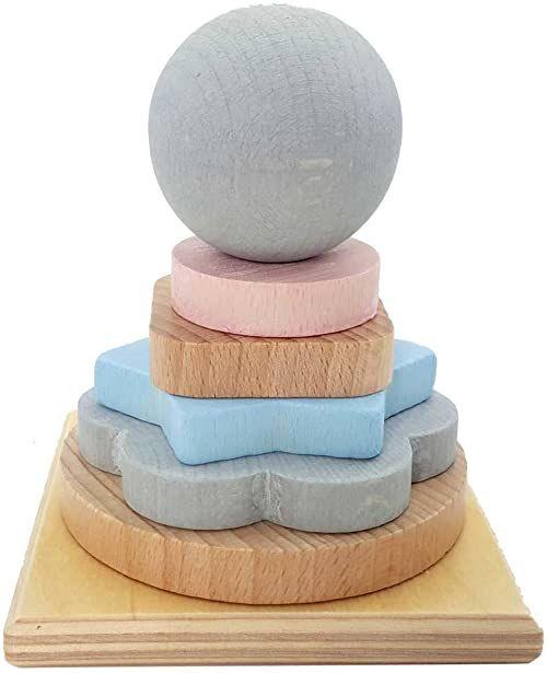 Hess 20024 drewniana wieża z tarczami w różnych kształtach i kolorach, seria Nature, dla dzieci od 24 miesięcy, do wkładania, układania w stos i sortowania, wielokolorowa