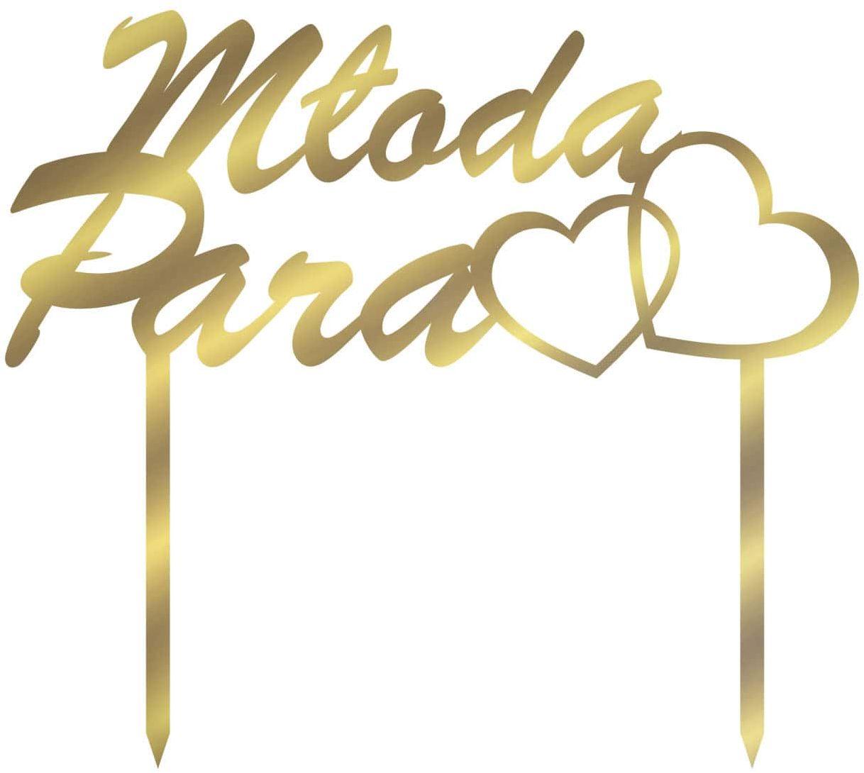 Topper z lustrzanej pleksi złoty na tort Młoda Para z sercami - 15 cm