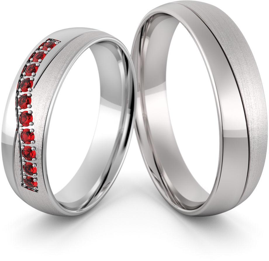 Obrączki srebrne z rubinami - wzór Ag-460