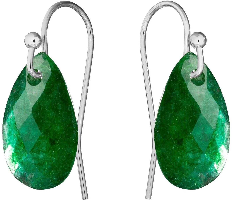 Delikatne kolczyki z naturalnym kamieniem Gavbari, srebro 925 : Kamienie naturalne - kolor - jadeit zielony ciemny, Srebro - kolor pokrycia - Pokrycie platyną