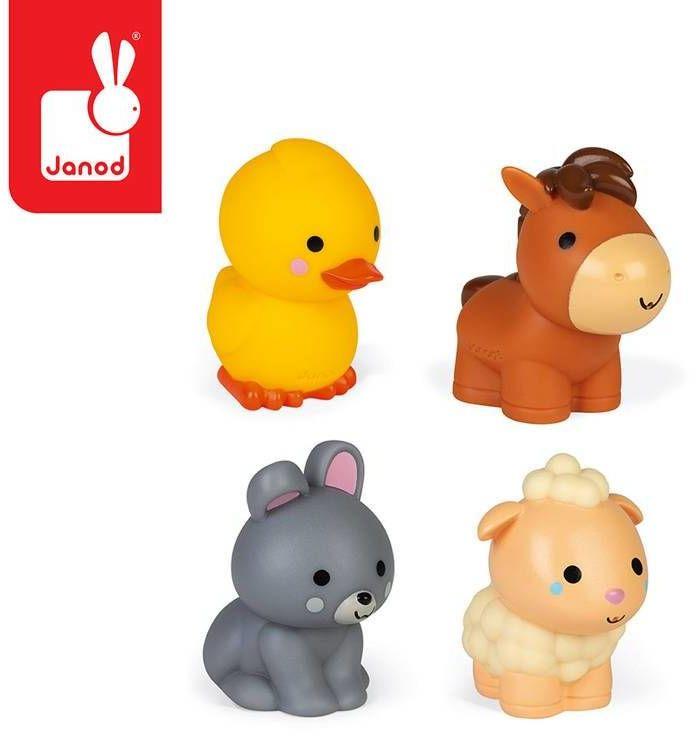 Zestaw do kąpieli 4 zwierzątka z farmy 10 m+, Janod J04702