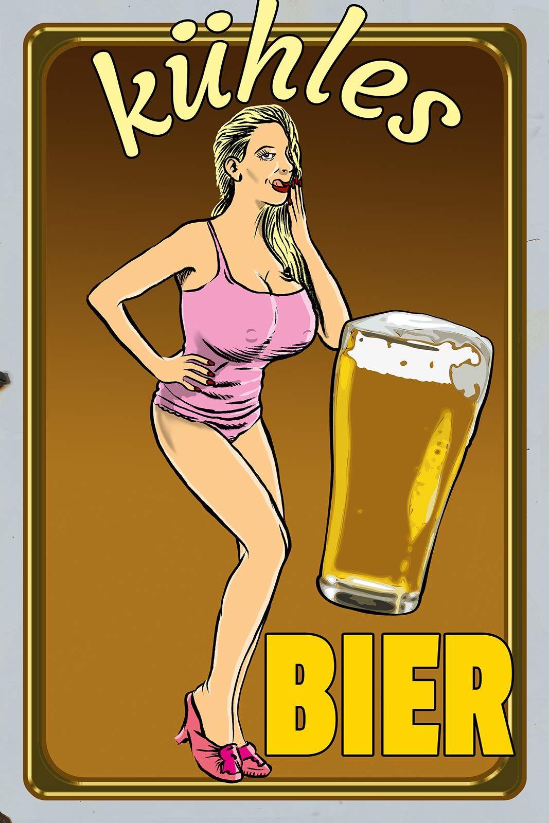 Schatzmix Powiedzenie Zimne piwo kobieta ze szklanką do piwa tabliczka metalowa 20 x 30 tin Sign blaszana tabliczka, wielokolorowa, 20 x 30 cm