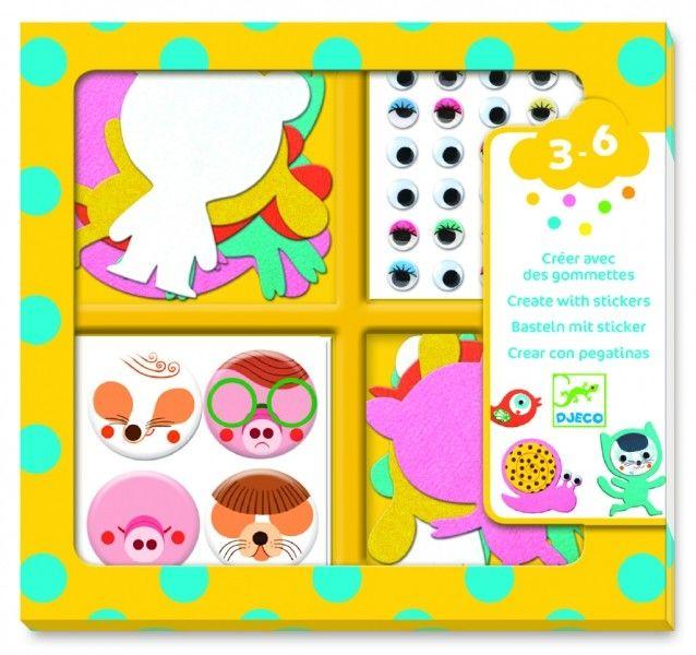 Djeco - Zestaw z Naklejkami Kocham Zwierzęta Dj09050