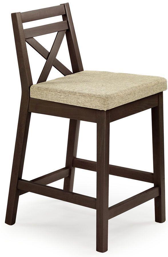 Drewniane krzesło do baru Lidan - ciemny orzech