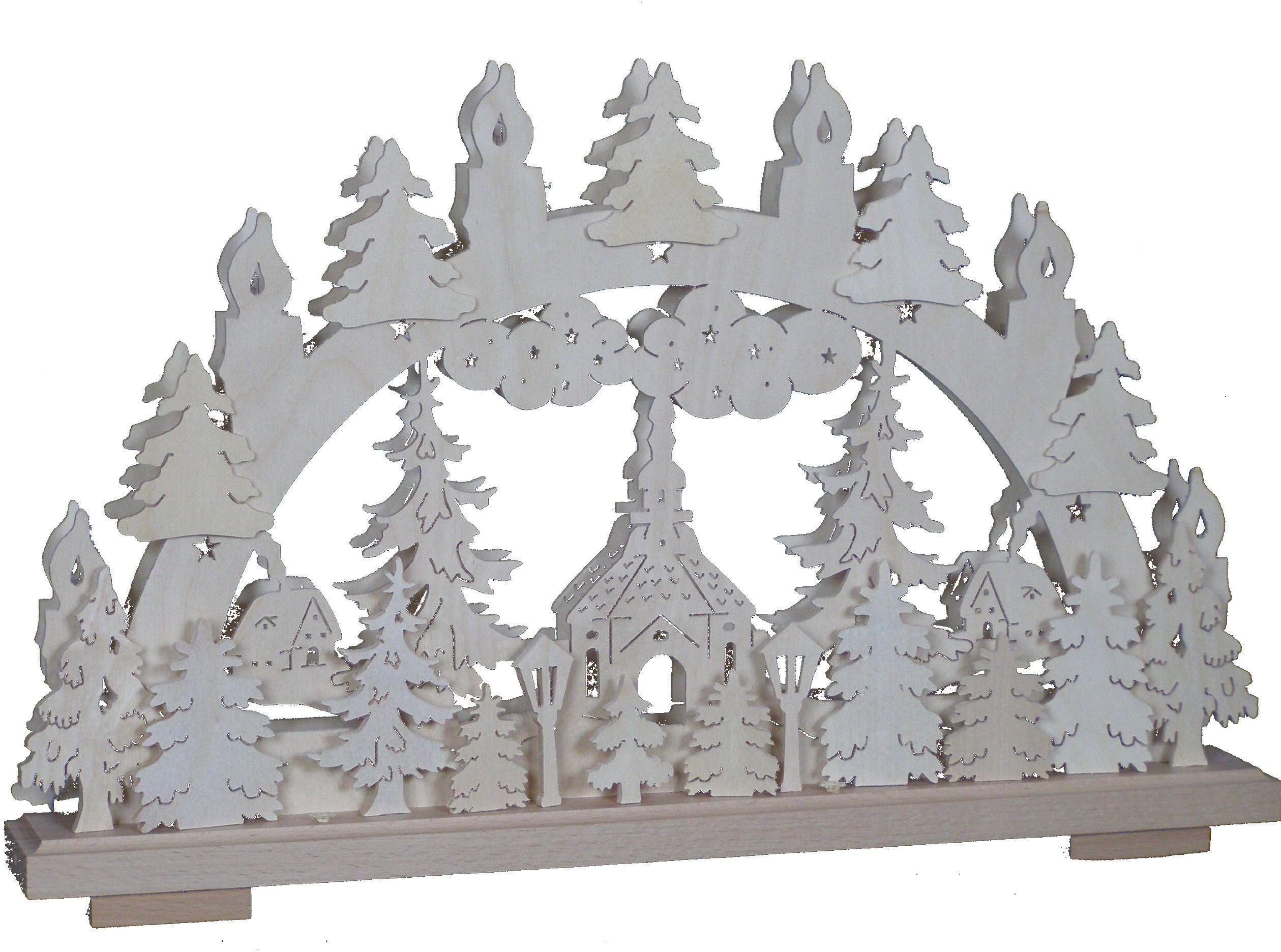 SchwibboLa 3-117 Erzgebirgischer podwójnie podświetlany świecznik łukowy z certyfikatem 3-117, 50 x 30 cm