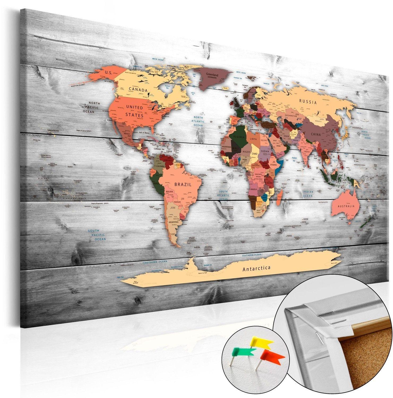 Obraz na korku - kierunek świat [mapa korkowa]