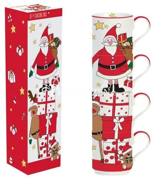KUBKI PORCELANOWE Święty Mikołaj i Przyjaciele KPL. 4 SZTUKI