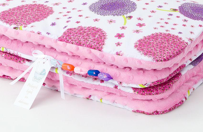 MAMO-TATO Kocyk Minky dla niemowląt i dzieci 75x100 Dmuchawce róż / róż - letni