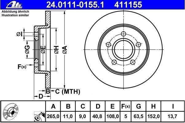 tarcze hamulcowe ATE - tył 265mm