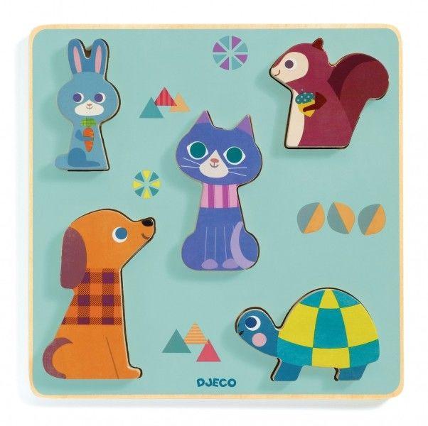 Djeco - Drewniane Puzzle Przestrzenne Moustacha Dj01060