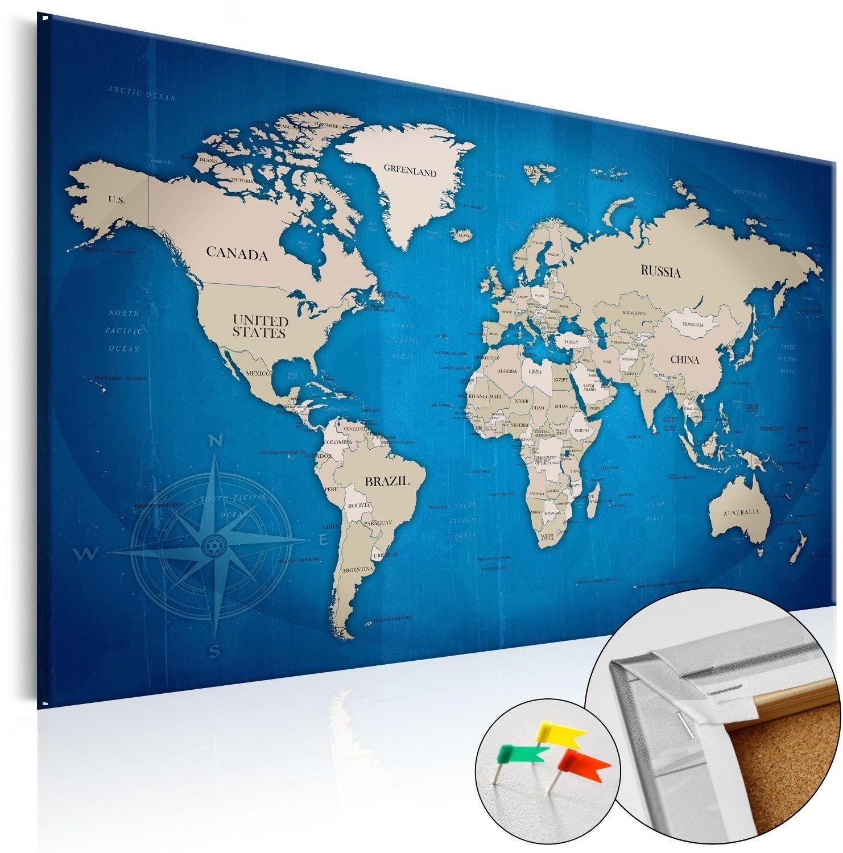 Obraz na korku - granatowy szlak [mapa korkowa]
