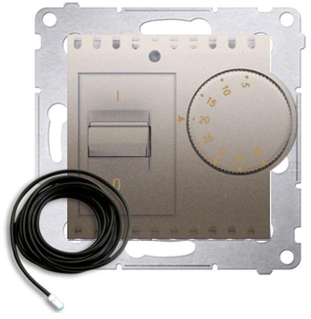 Simon 54 Regulator temperatury z czujnikiem zewnętrznym złoty mat DRT10Z.02/44