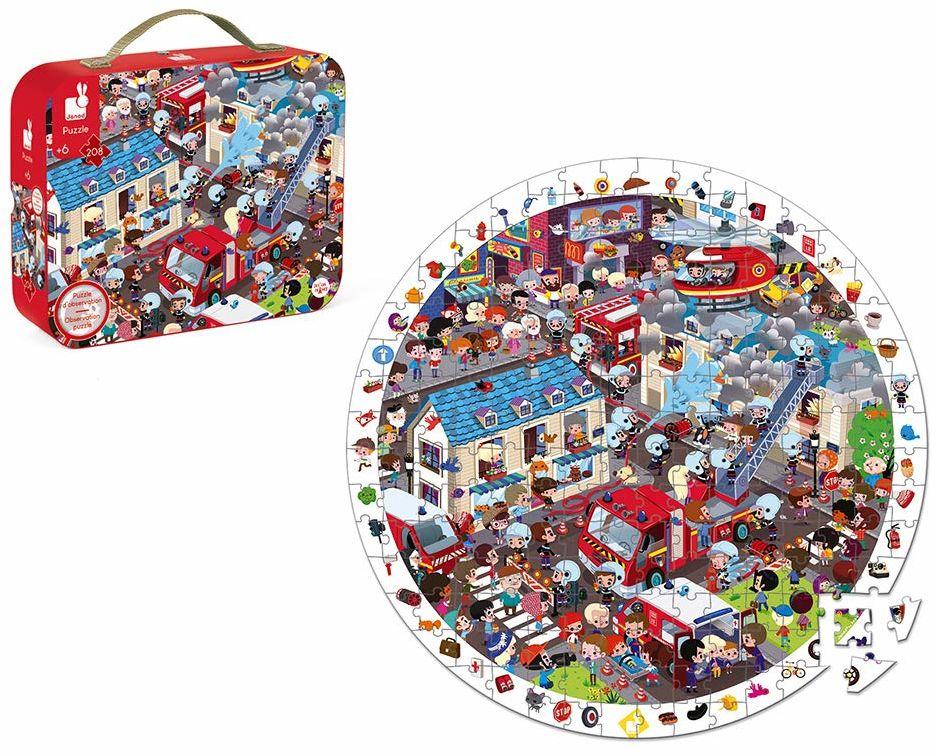 Janod - Extreme Strażak okrągłe puzzle do obserwacji 208 sztuk - walizka z uchwytem - dla dzieci w wieku od 6 lat J02793