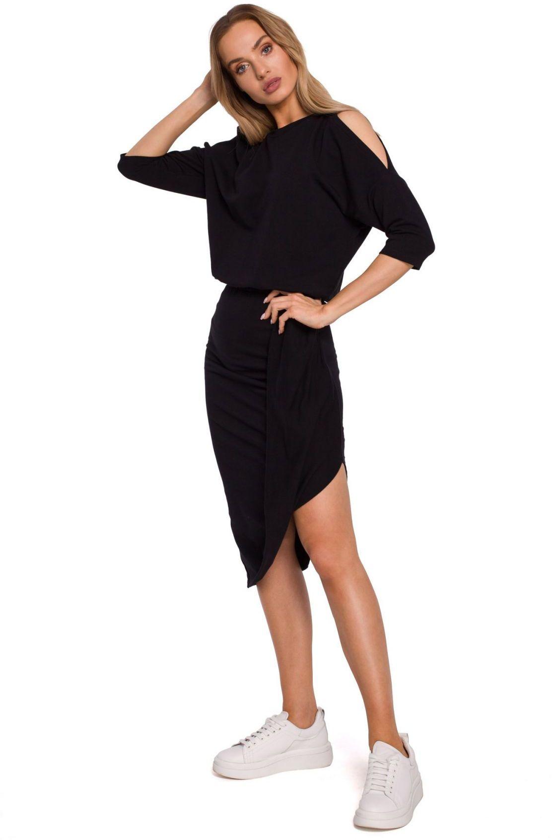 M589 Sukienka z wycięciami na ramionach - czarna