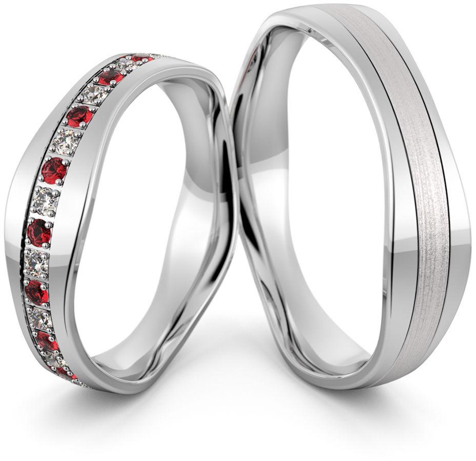 Obrączki srebrne z rubinami - wzór Ag-463