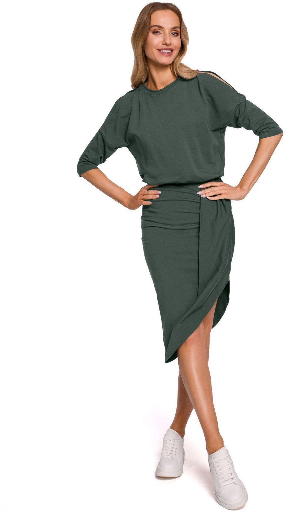 M589 Sukienka z wycięciami na ramionach - khaki