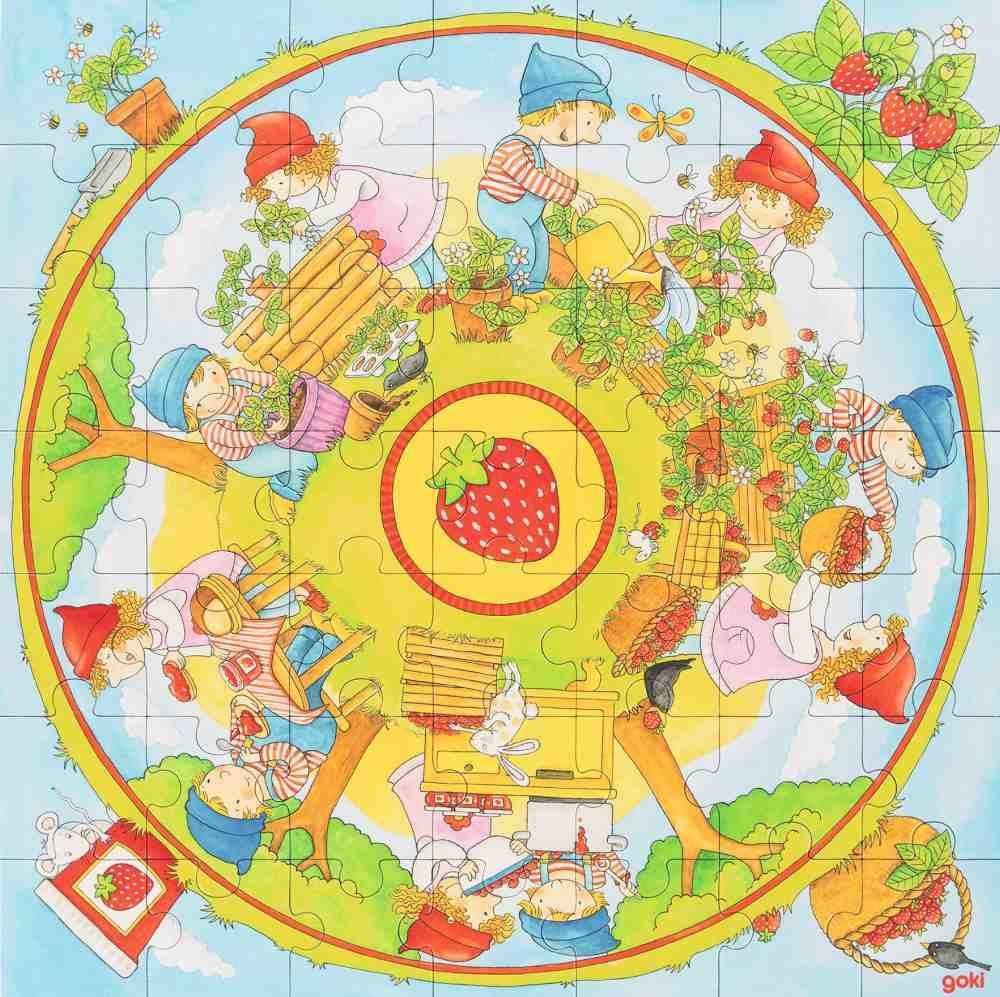 Puzzle tekturowe XXL Truskaweczka 57442-Goki, układanki dla dzieci