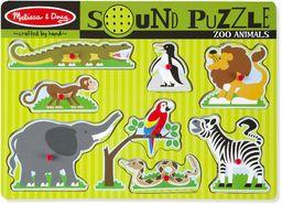 Melissa & Doug Zoo zwierzęta dźwiękowe puzzle puzzle drewno 2+ prezent dla chłopców lub dziewcząt