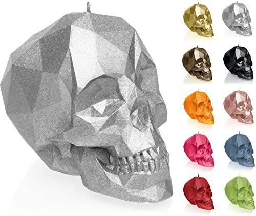 Candellana Świeca mała czaszka Low Poly wysokość: 7,5 cm srebrna trupia czaszka ręcznie wykonana w UE