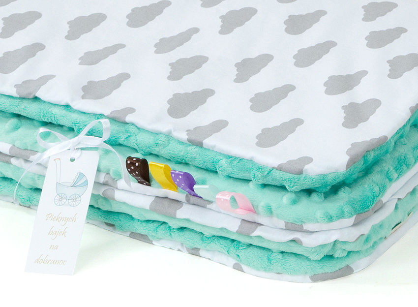 MAMO-TATO Kocyk Minky dla niemowląt i dzieci 75x100 Chmurki szare na bieli / miętowy - letni