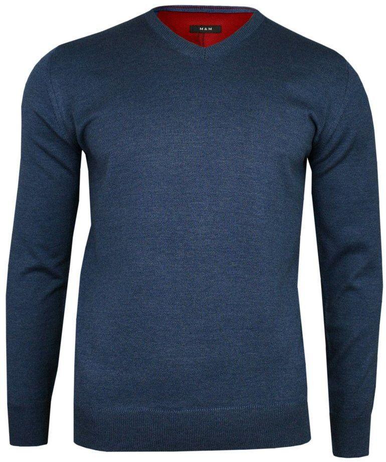 Sweter w Serek, Niebieski Elegancki, Męski (V-neck) -MM Classic- w Serek, Klasyczny SWMM1235a590nieb