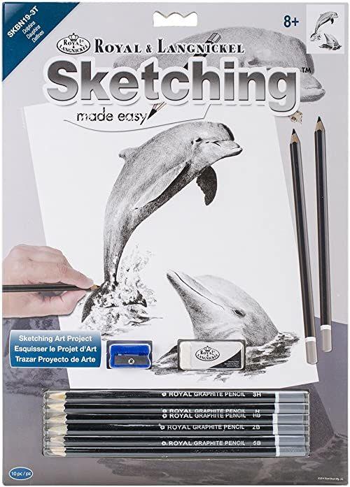 Łatwy zestaw do szkicowania 23 cm x 30 cm - delfiny