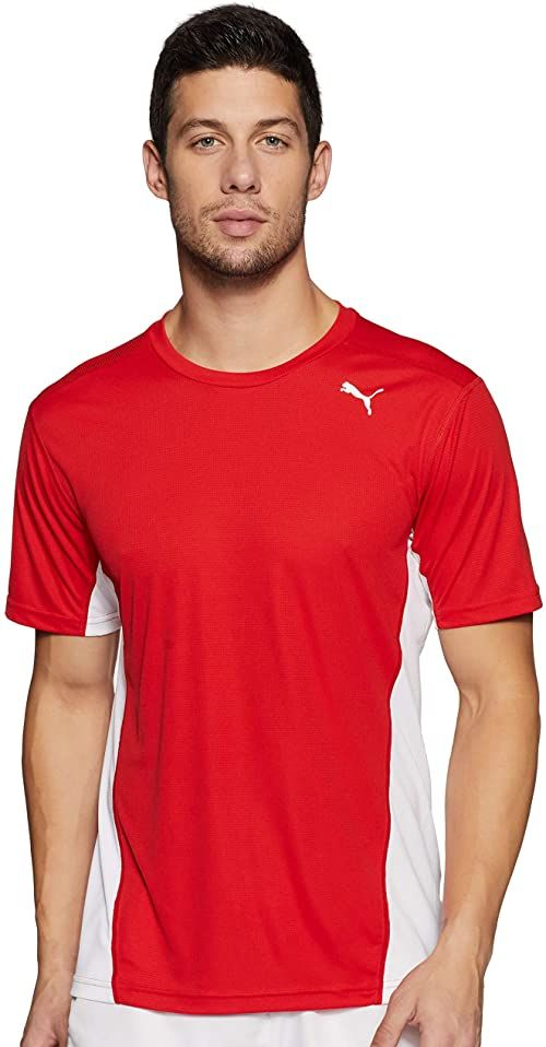 PUMA męska koszulka Cross the Line koszulka, biała czerwona, średnia