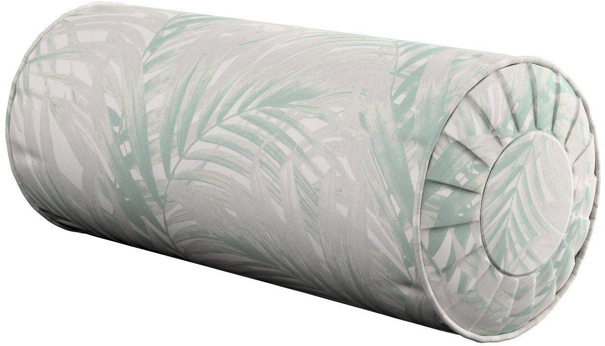 Poduszka wałek z zakładkami, miętowo- szare liście palmy na białym tle , Ø20  50 cm, Gardenia