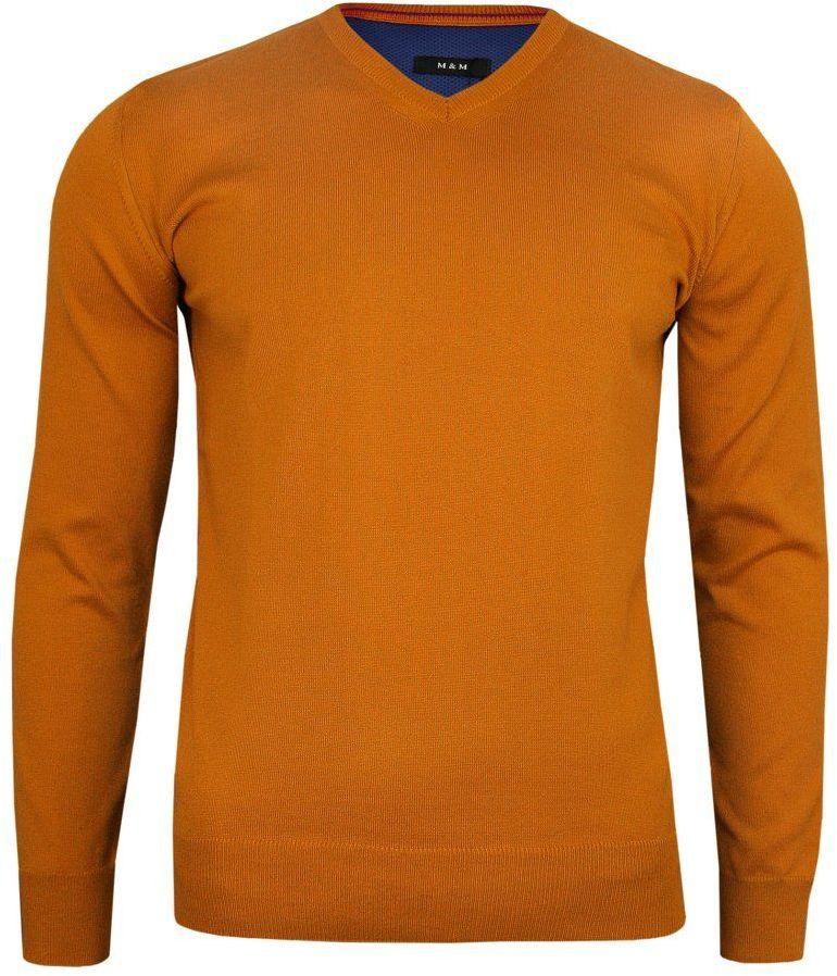 Sweter Pomarańczowy Elegancki (V-neck) w Serek, Klasyczny, Orange -MM Classic- Męski SWMM1235a1083pomar