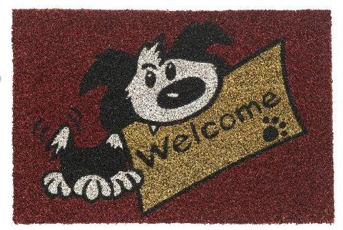"""HMT 147414 Wycieraczka, motyw: """"Welcome"""" pies, włókna kokosowe, czerwone, 40 x 60 cm"""