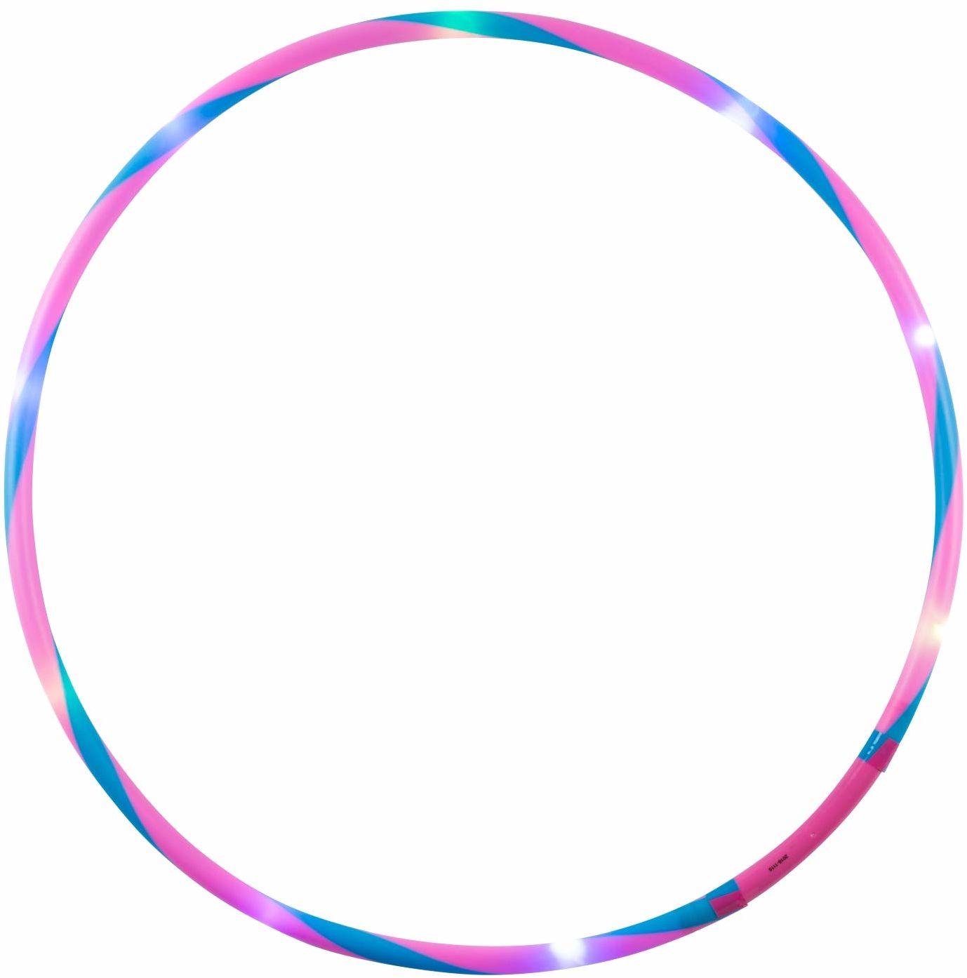 alldoro 63001 Hoop Fun Ø 78 cm, opony hula z 12 diodami LED, opony do uprawiania sportu, fitnessu i gimnastyki, opony sportowe ze światłem, dla dzieci od 4 lat i dorosłych, różowe/niebieskie