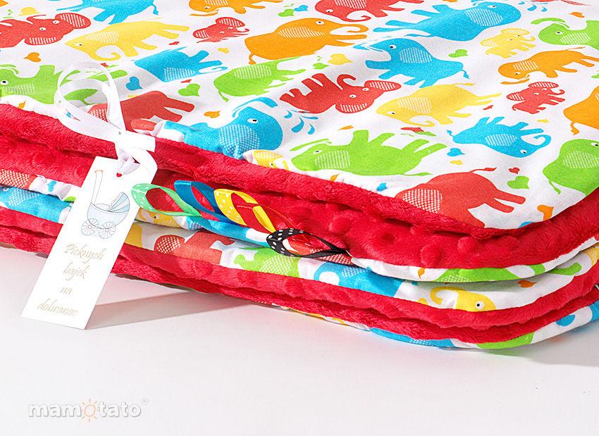 MAMO-TATO Kocyk Minky dla niemowląt i dzieci 75x100 Słonie kolorowe / czerwony - letni