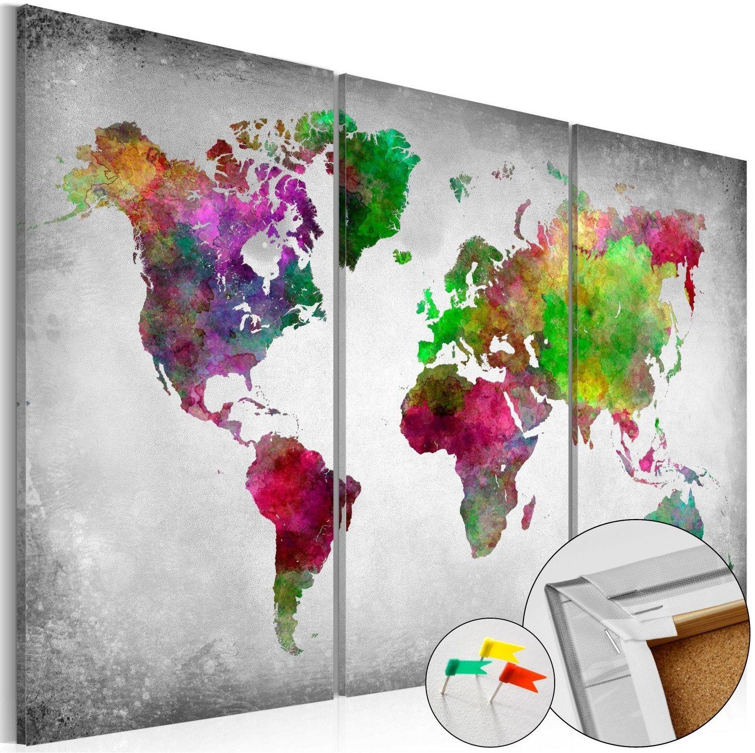 Obraz na korku - różnorodność świata [mapa korkowa]