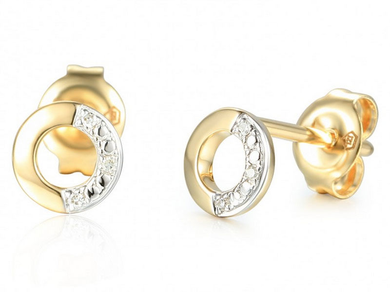 Złote kolczyki 585 z brylantami oponki ringi