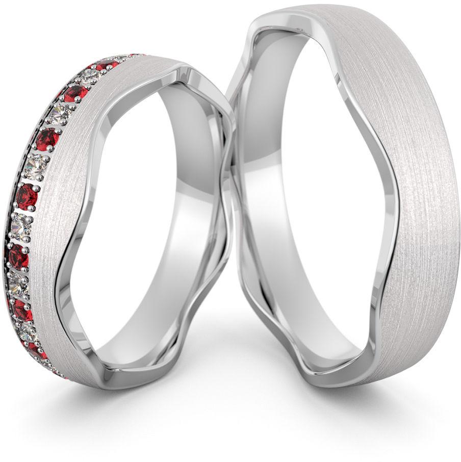 Obrączki srebrne falowane z cyrkoniami i rubinami - wzór Ag-466