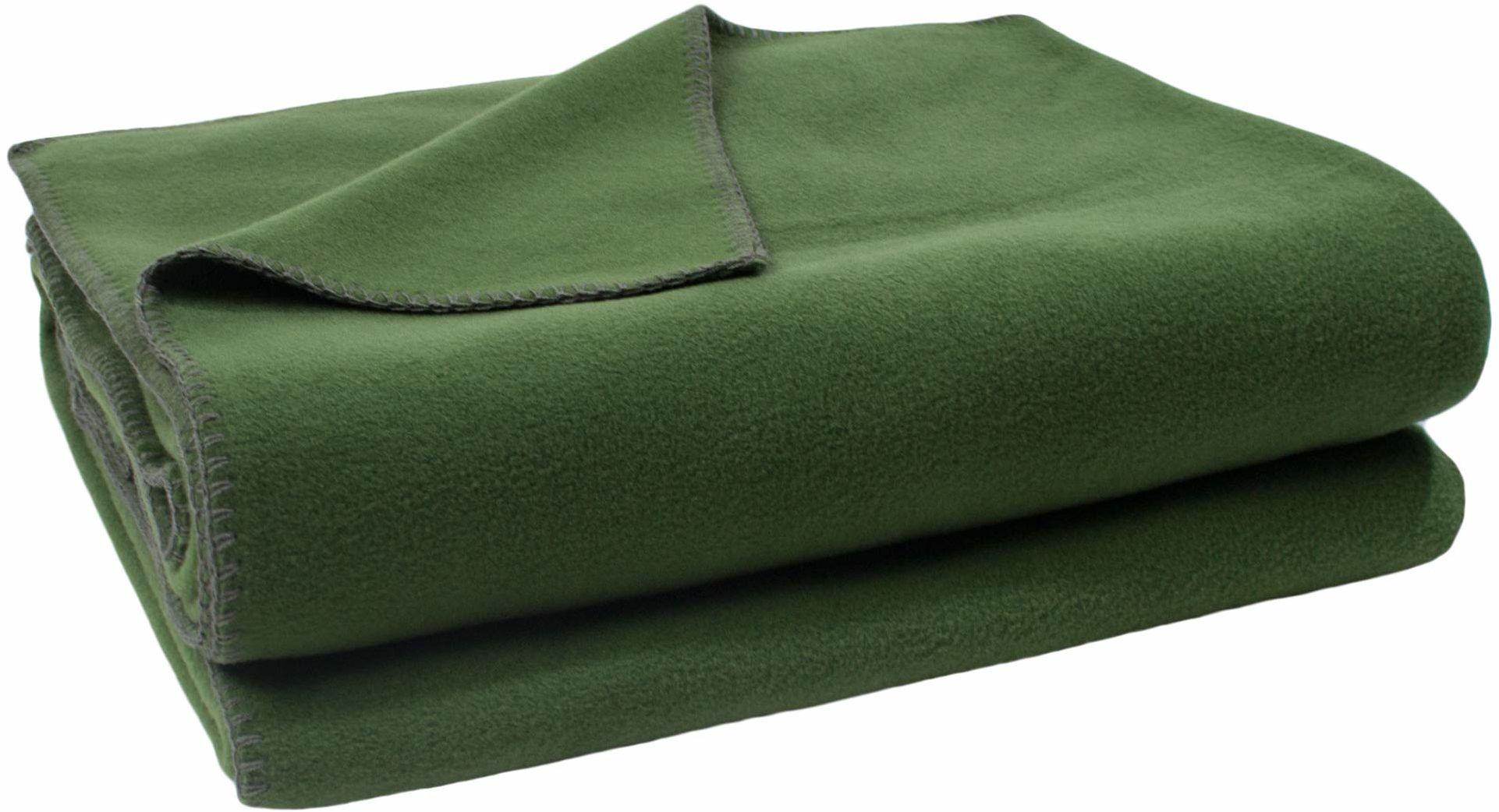 zoeppritz since 1828 miękki koc polarowy z haftem szydełkowym, miękki koc do wtulania się, 110 x 150 cm, 661 ciemny jadeit