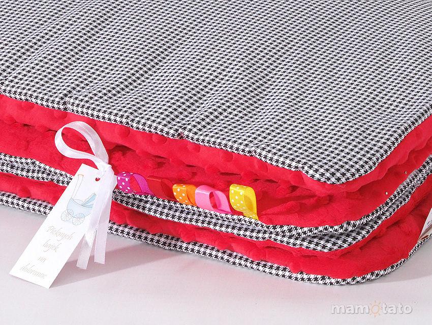 MAMO-TATO Kocyk Minky dla niemowląt i dzieci 75x100 Pepitka czarna / czerwony - letni