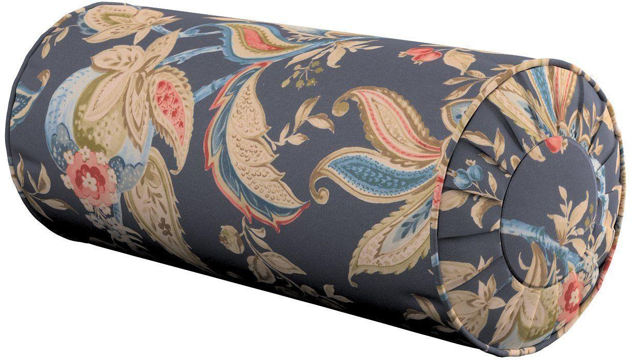 Poduszka wałek z zakładkami, roślinne wzory na szaro - granatowym tle , Ø20  50 cm, Gardenia