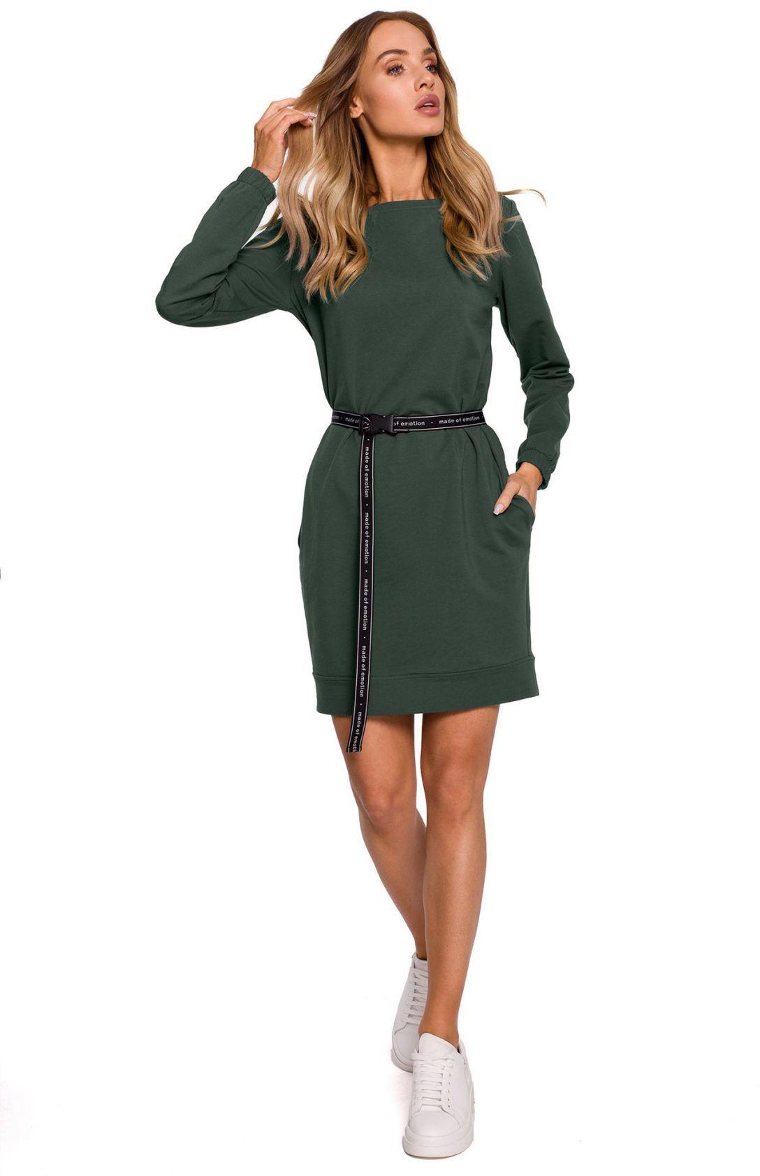 M590 Sukienka z regulowanym paskiem - khaki