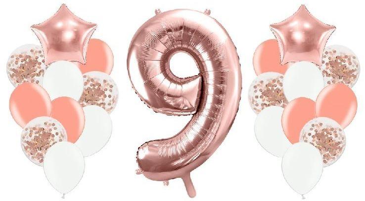 Zestaw balonów na 9 urodziny różowe złoto 21 sztuk A29