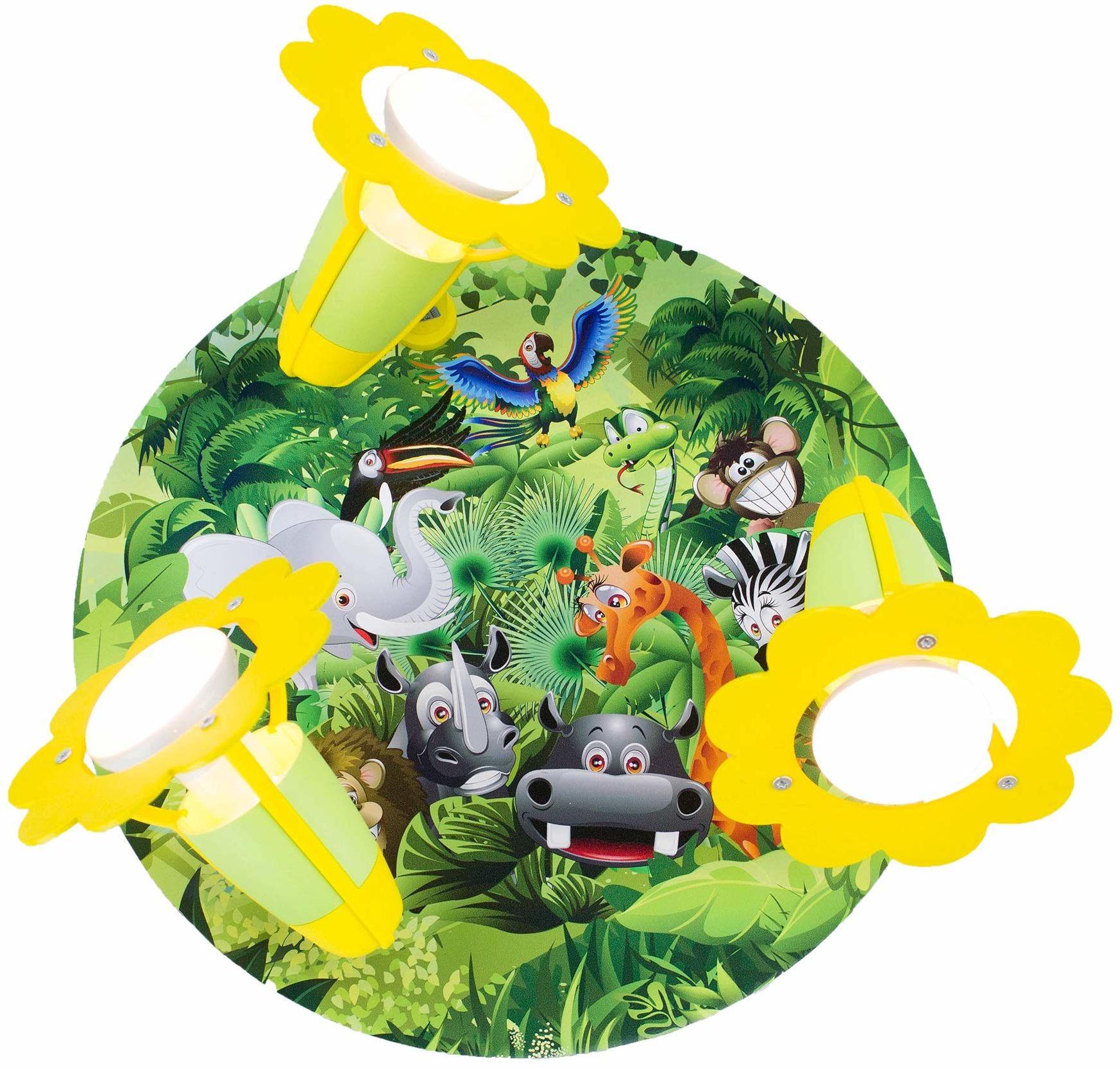 """Elobra Lampa do pokoju dziecięcego """"Rondell Wildnis"""" słodka lampa sufitowa do pokoju dziecięcego, lampa dżungla, dla dziewcząt i chłopców, z prawdziwego drewna, wyprodukowana w Niemczech"""