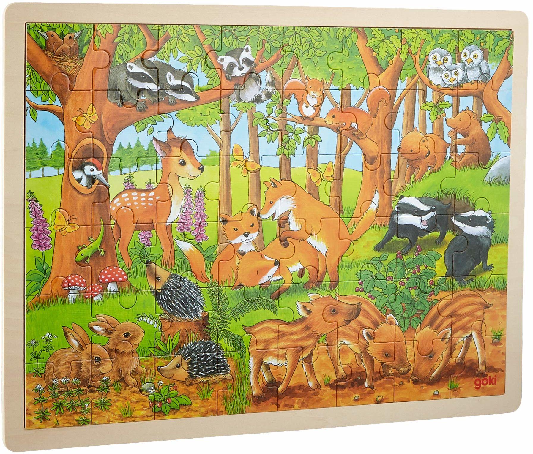 GOKI 57734 puzzle zwierzęta w lesie, wielokolorowe